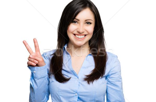 Portre mutlu genç kadın kadın gülümseme arka plan Stok fotoğraf © Minervastock