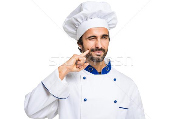 şef yalıtılmış beyaz gıda sanayi şapka Stok fotoğraf © Minervastock