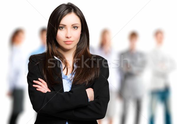 Güzel kadın lider takım kız erkekler Stok fotoğraf © Minervastock