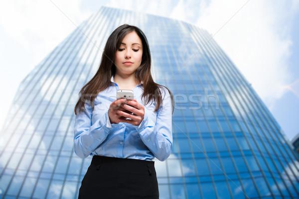 肖像 美人 携帯電話 屋外 少女 笑顔 ストックフォト © Minervastock