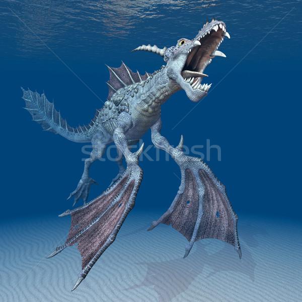 Su ejderha bilgisayar oluşturulan 3d illustration okyanus Stok fotoğraf © MIRO3D