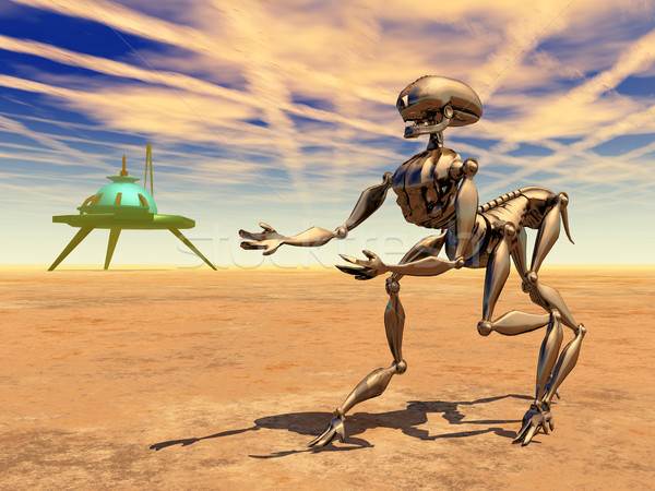 Space Station and Alien Robot in a Distant World Stock photo © MIRO3D