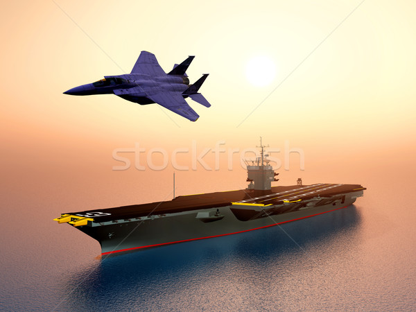 Aircraft Carrier and Combat Aircraft Stock photo © MIRO3D