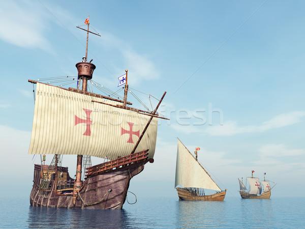 Santa Maria, Nina and Pinta of Christopher Columbus Stock photo © MIRO3D