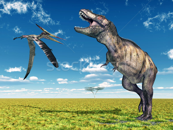 Tyrannosaurus Rex and the Pterosaur Pteranodon Stock photo © MIRO3D