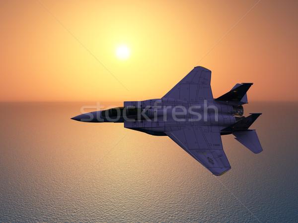 Harc repülőgép számítógép generált 3d illusztráció nap Stock fotó © MIRO3D