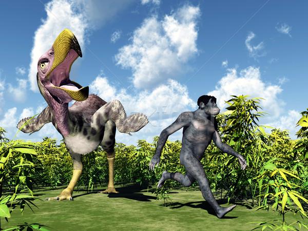 Menselijke evolutie computer gegenereerde 3d illustration terreur Stockfoto © MIRO3D
