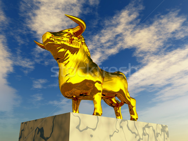 Or ordinateur généré 3d illustration or Bull Photo stock © MIRO3D