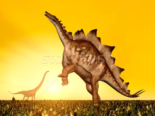 Stegosaurus and Mamenchisaurus Stock photo © MIRO3D