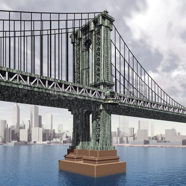 マンハッタン 橋 コンピュータ 生成された 3次元の図 ニューヨーク市 ストックフォト © MIRO3D