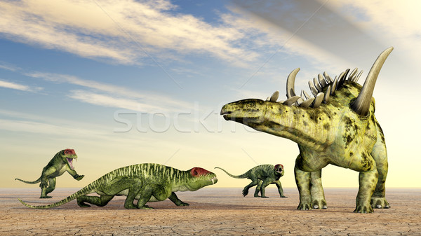 Doliosauriscus and Gigantspinosaurus Stock photo © MIRO3D