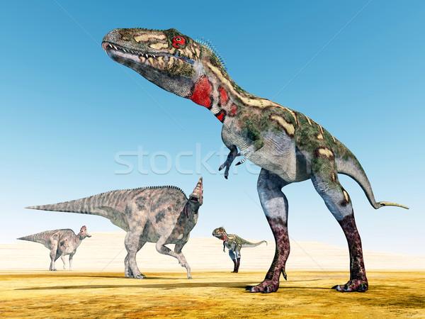 Corythosaurus and Nanotyrannus  Stock photo © MIRO3D
