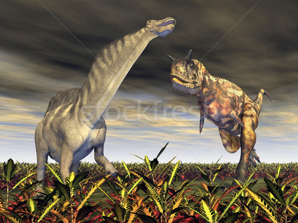 Carnotaurus attacks Amargasaurus Stock photo © MIRO3D