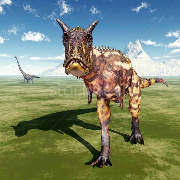 Carnotaurus and Mamenchisaurus Stock photo © MIRO3D