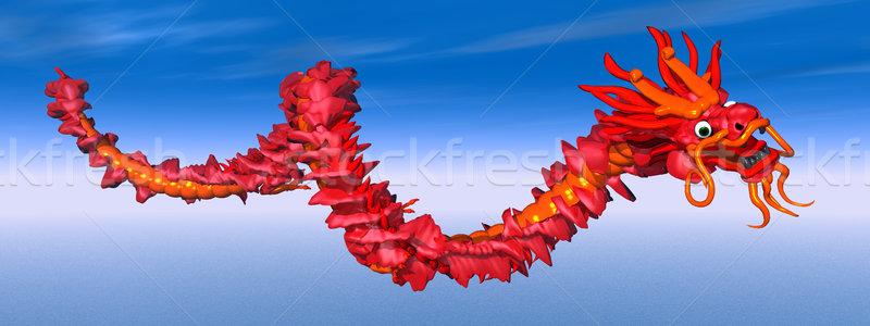 Çin ejderha bilgisayar oluşturulan 3d illustration bulutlar sanat Stok fotoğraf © MIRO3D