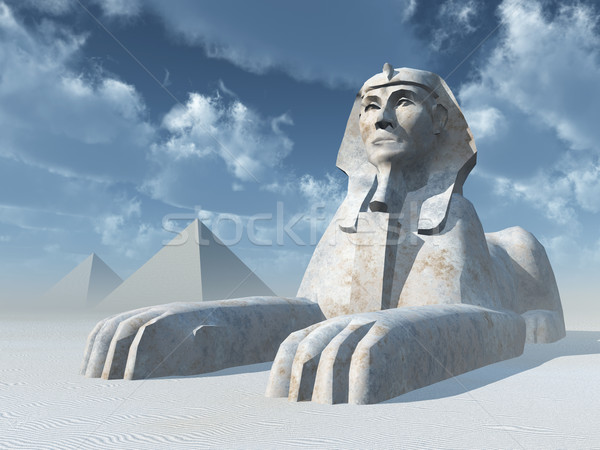Egyptian Sphinx and Pyramids Stock photo © MIRO3D