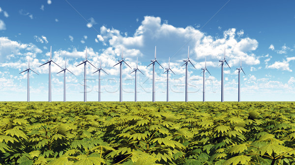 Windpark computer gegenereerde 3d illustration technologie Stockfoto © MIRO3D