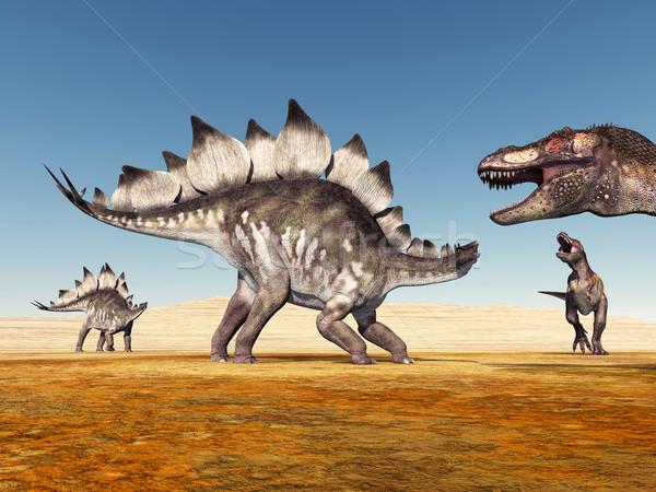 Stegosaurus and Tyrannosaurus Rex Stock photo © MIRO3D