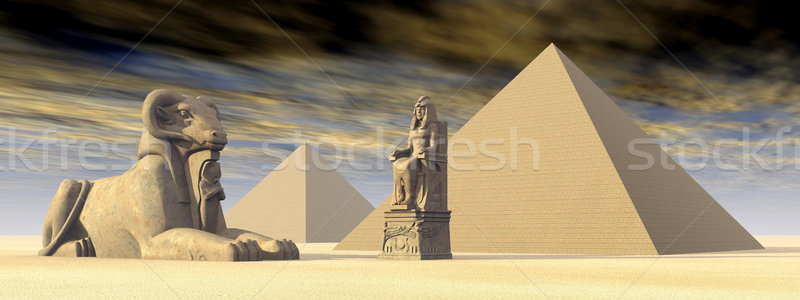 Stock photo: Egyptian Pyramids and Statues