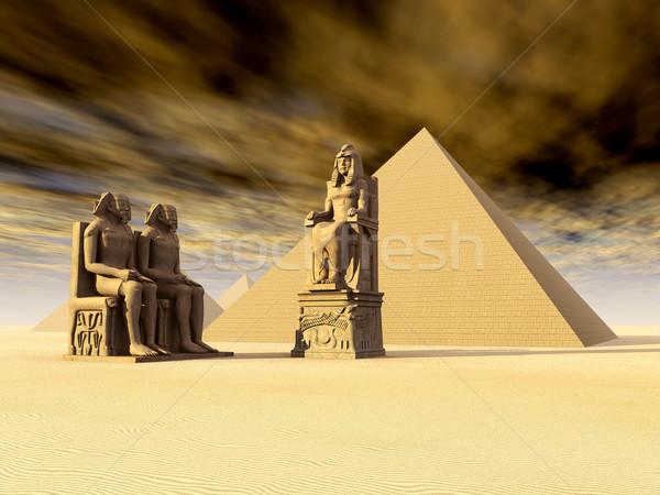 Egipcjanin piramidy komputera wygenerowany 3d ilustracji pustyni Zdjęcia stock © MIRO3D