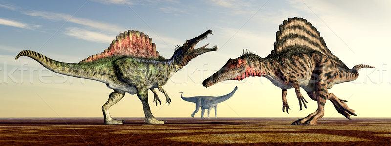 Számítógép generált 3d illusztráció dinoszauruszok naplemente természet Stock fotó © MIRO3D