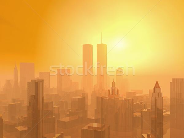 Düşük Manhattan bilgisayar oluşturulan 3d illustration güneş Stok fotoğraf © MIRO3D