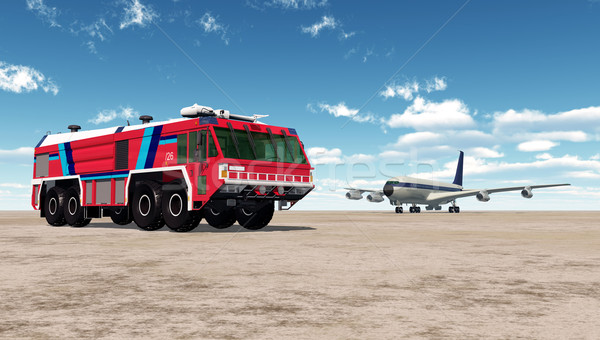 Airport Fire Truck and Airliner Stock photo © MIRO3D