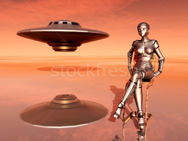 Spaceship and Female Robot Stock photo © MIRO3D