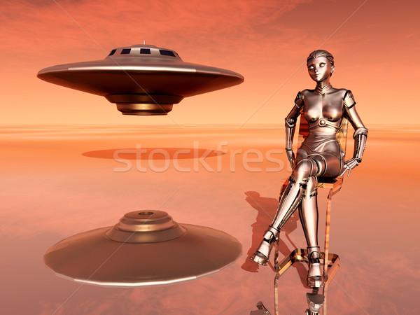 宇宙船 女性 ロボット コンピュータ 生成された 3次元の図 ストックフォト © MIRO3D