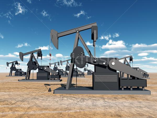 Olaj számítógép generált 3d illusztráció technológia sivatag Stock fotó © MIRO3D