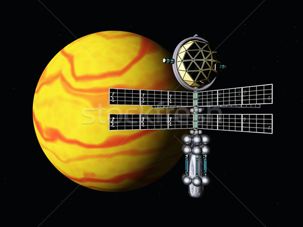 Yellow Planet and Space Probe Stock photo © MIRO3D