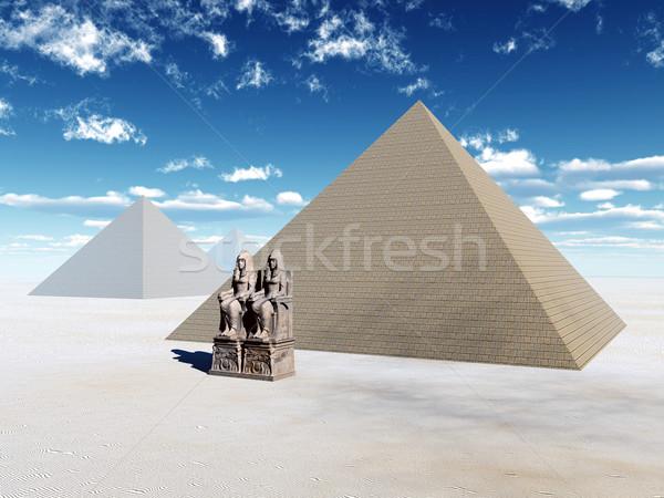 Egipcjanin piramidy komputera wygenerowany 3d ilustracji architektury Zdjęcia stock © MIRO3D