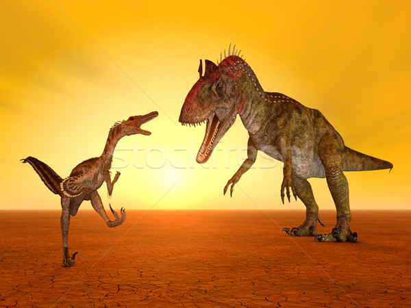 コンピュータ 生成された 3次元の図 恐竜 太陽 日没 ストックフォト © MIRO3D