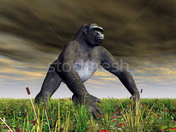 Gorilla számítógép generált 3d illusztráció Afrika növények Stock fotó © MIRO3D