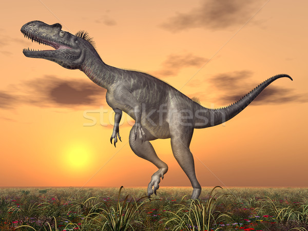 Dinosauro computer generato illustrazione 3d tramonto natura Foto d'archivio © MIRO3D