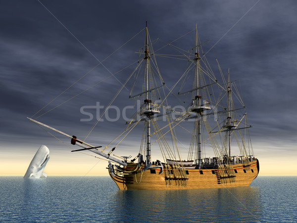 White Whale and Whaler Stock photo © MIRO3D