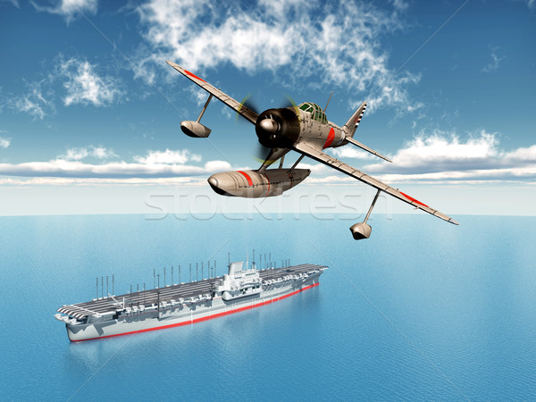 Fighter Bomber and Aircraft Carrier Stock photo © MIRO3D
