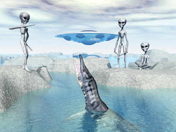 Visitors from Space discover a Liopleurodon Stock photo © MIRO3D