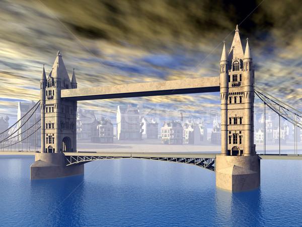 Tower Bridge ordenador generado 3d puente arquitectura Foto stock © MIRO3D
