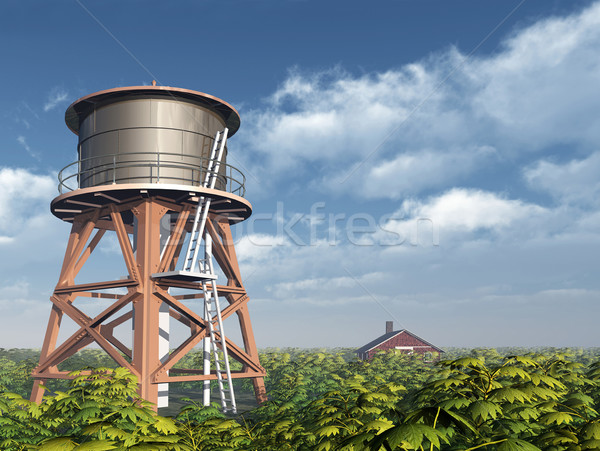 Water Tower and Farmhouse Stock photo © MIRO3D