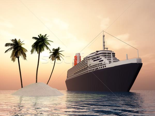 Sziget tengerjáró hajó számítógép generált 3d illusztráció naplemente Stock fotó © MIRO3D