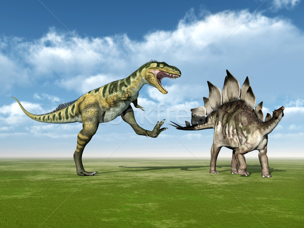 Bistahieversor attacks Stegosaurus Stock photo © MIRO3D