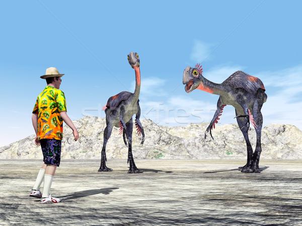 Turista dinoszaurusz számítógép generált 3d illusztráció hegy Stock fotó © MIRO3D