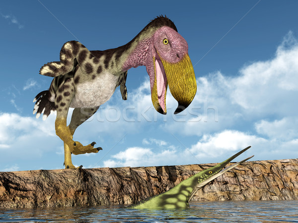 Terror Bird Kelenken attacks the Marine Reptile Hupehsuchus Stock photo © MIRO3D
