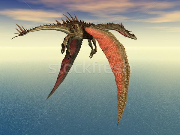 Flying дракон компьютер генерируется 3d иллюстрации морем Сток-фото © MIRO3D