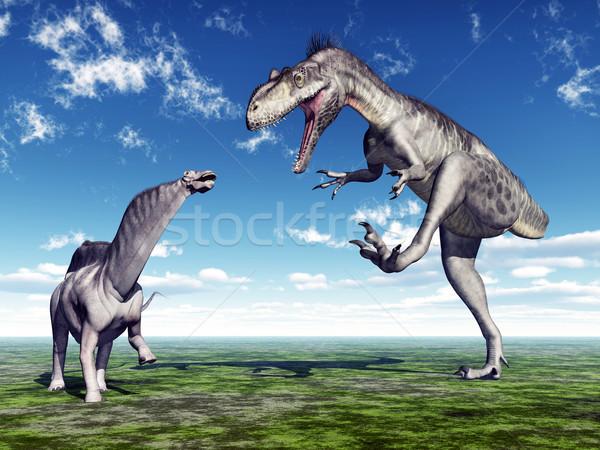 Amargasaurus and Megalosaurus Stock photo © MIRO3D