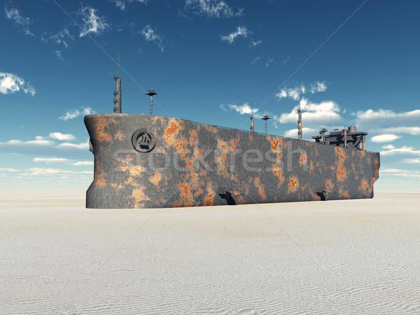 Számítógép generált 3d illusztráció tengerpart felhők sivatag Stock fotó © MIRO3D