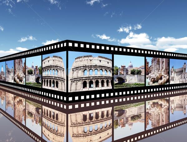 Rom Computer erzeugt 3D-Darstellung Filmstreifen Reise Stock foto © MIRO3D