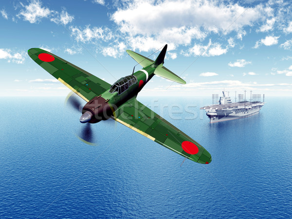 Japanese Fighter Bomber and Japanese Aircraft Carrier Stock photo © MIRO3D