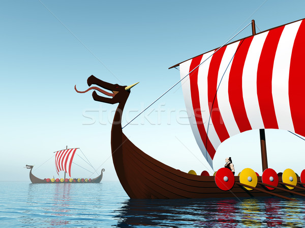 Viking habituellement ordinateur généré 3d illustration deux Photo stock © MIRO3D
